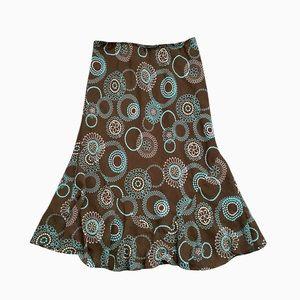 Vintage Brown & Blue Abstract Print Midi Skirt